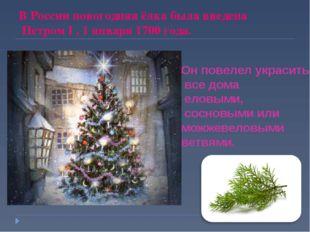В России новогодняя ёлка была введена Петром I , 1 января 1700 года. Он повел
