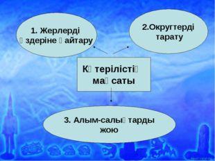 Көтерілістің мақсаты 1. Жерлерді өздеріне қайтару 3. Алым-салықтарды жою 2.Ок