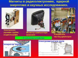 Магниты в радиоэлектронике, ядерной энергетике и научных исследованиях. Ускор