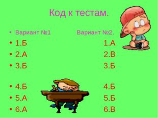 Код к тестам. Вариант №1 Вариант №2. 1.Б 1.А 2.А 2.В 3.Б 3.Б 4.Б 4.Б 5.А 5.Б