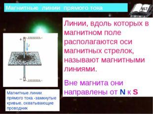 §63 Магнитные линии прямого тока Линии, вдоль которых в магнитном поле распол