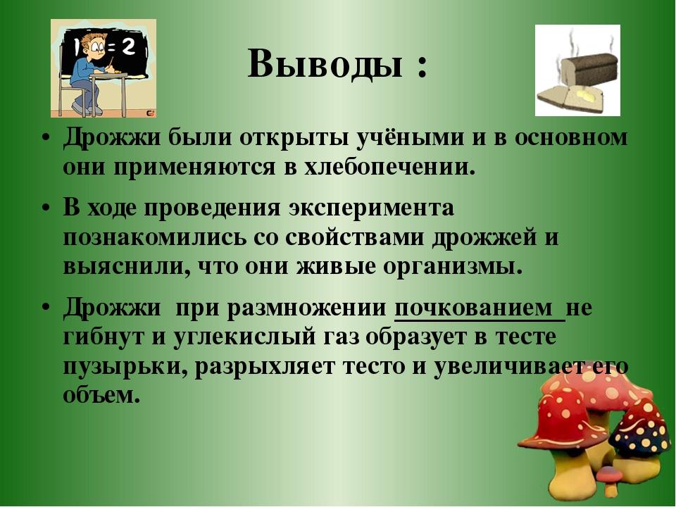 Выводы : Дрожжи были открыты учёными и в основном они применяются в хлебопече...