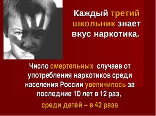 Число смертельных случаев от употребления наркотиков среди населения России у