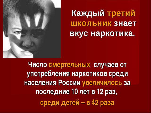 Число смертельных случаев от употребления наркотиков среди населения России у...
