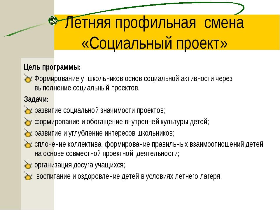 Летняя профильная смена «Социальный проект» Цель программы: Формирование у шк...