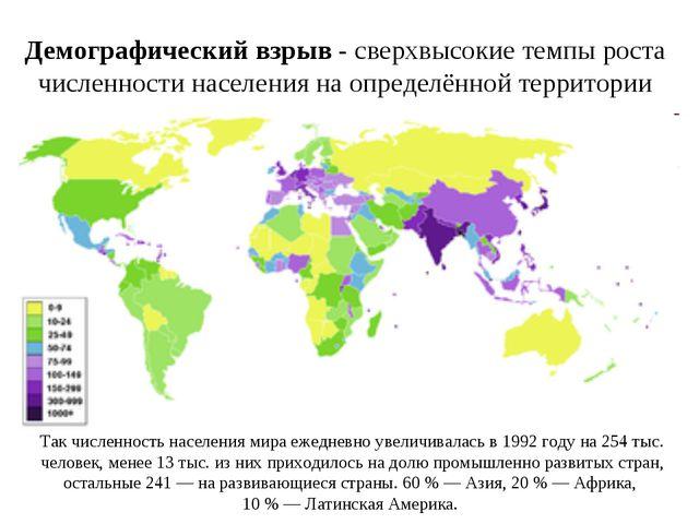 Демографический взрыв- сверхвысокие темпы роста численности населения на опр...