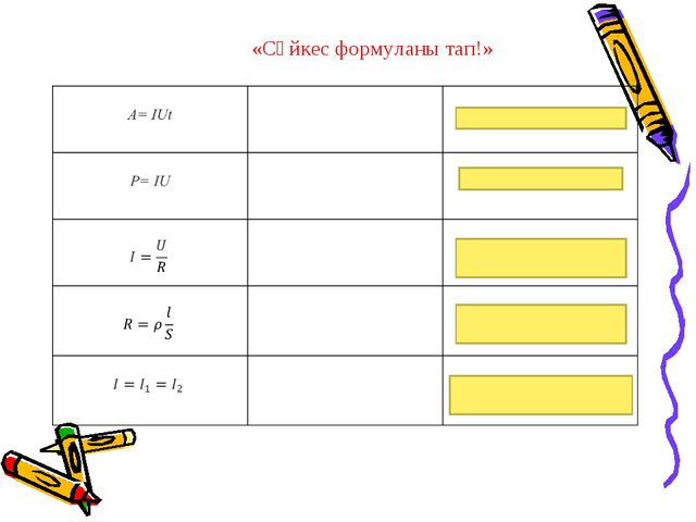 «Сәйкес формуланы тап!»