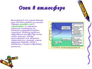 Озон в атмосфере Атмосферный озон играет важную роль для всего живого на план