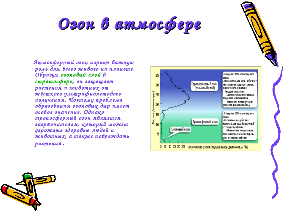 Озон в атмосфере Атмосферный озон играет важную роль для всего живого на план...