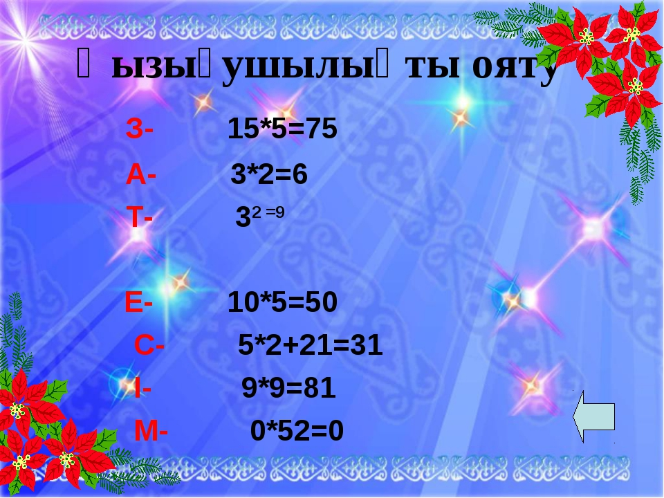 Қызығушылықты ояту З- 15*5=75 А- 3*2=6 Т- 32 =9  Е- 10*5=50 С- 5*2+21=31 І...