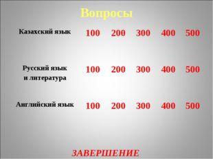 Вопросы ЗАВЕРШЕНИЕ Казахский язык 100200300400500 Русский язык и литерат
