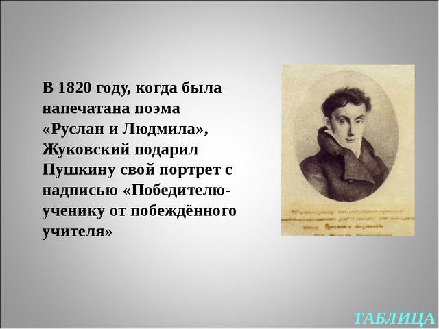 ТАБЛИЦА В 1820 году, когда была напечатана поэма «Руслан и Людмила», Жуковски...