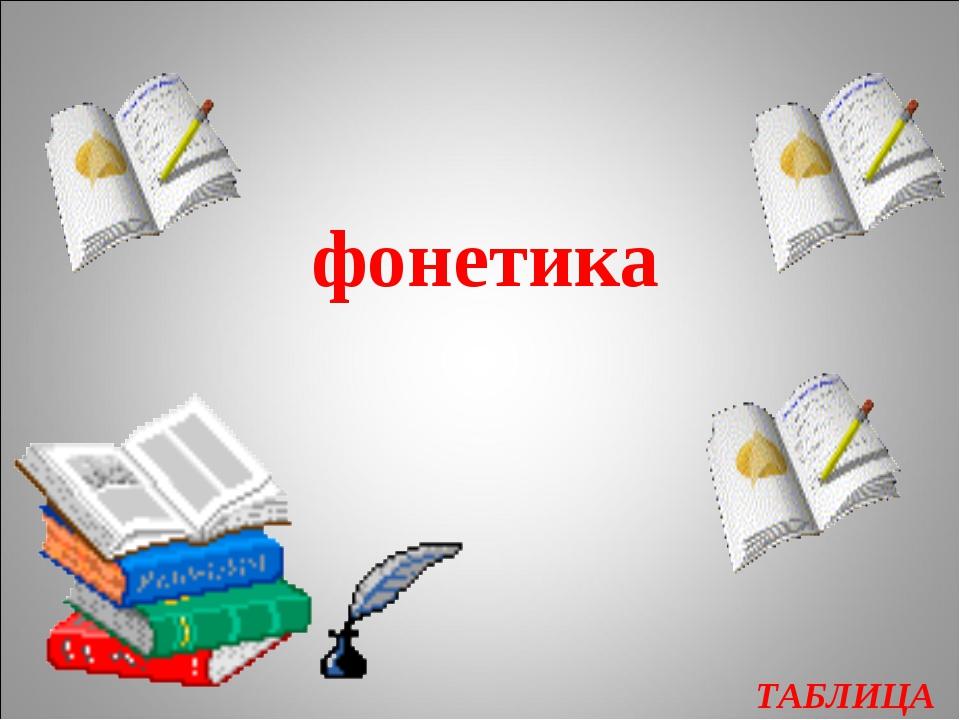 ТАБЛИЦА фонетика