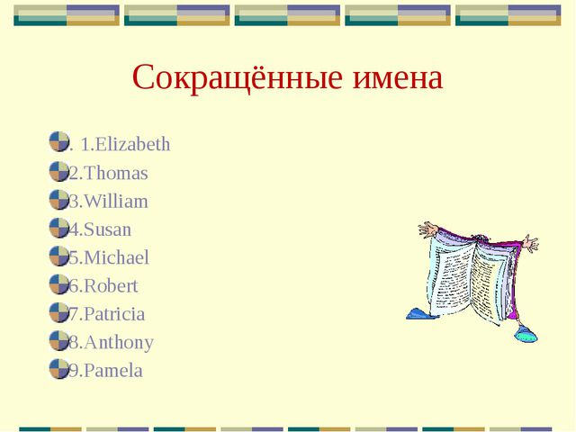 Сокращённые имена . 1.Elizabeth 2.Thomas 3.William 4.Susan 5.Michael 6.Robert...