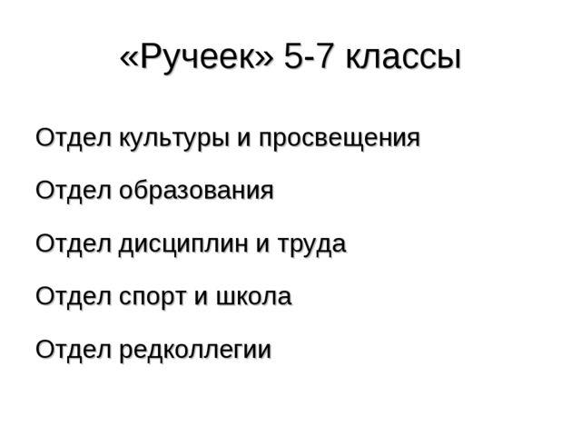 «Ручеек» 5-7 классы Отдел культуры и просвещения Отдел образования Отдел дисц...