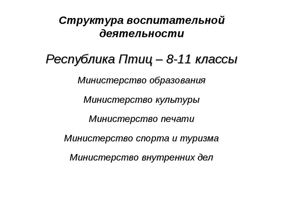 Структура воспитательной деятельности Республика Птиц – 8-11 классы Министерс...