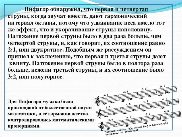 Пифагор обнаружил, что первая и четвертая струны, когда звучат вместе, дают...