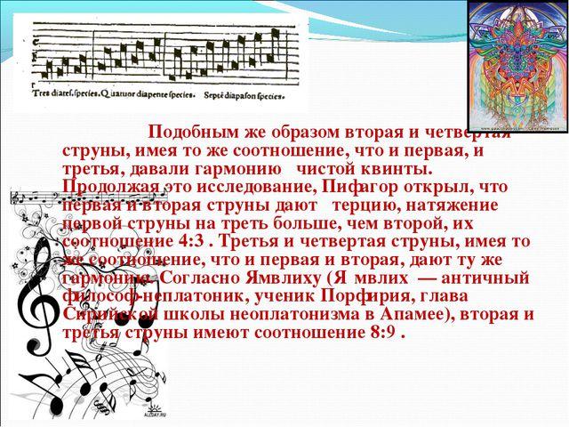 Подобным же образом вторая и четвертая струны, имея то же соотношение, что...