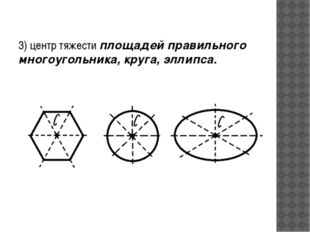3) центр тяжести площадей правильного многоугольника, круга, эллипса.