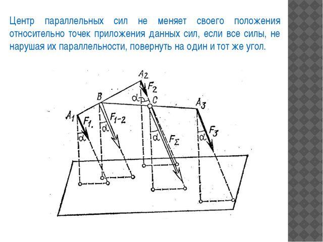 Центр параллельных сил не меняет своего положения относительно точек приложен...