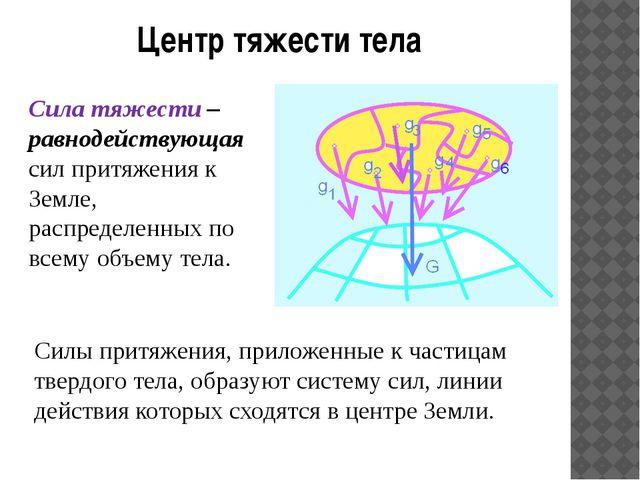 Центр тяжести тела Сила тяжести – равнодействующая сил притяжения к Земле, ра...