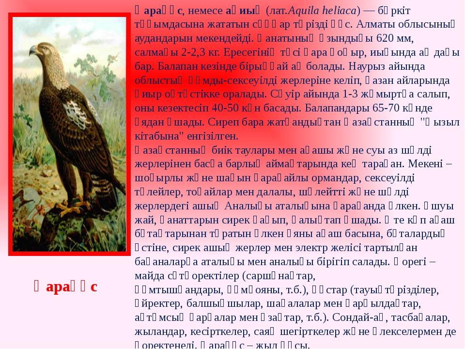 Қарақұс, немесеақиық (лат.Aquila heliaca) —бүркіт тұқымдасынажататынсұңқа...