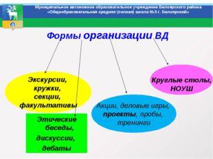 Формы организации ВД Муниципальное автономное образовательное учреждение Бел