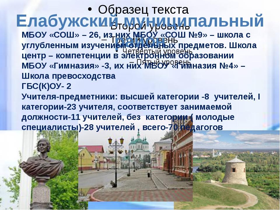 Елабужский муниципальный район МБОУ «СОШ» – 26, из них МБОУ «СОШ №9» – школа...