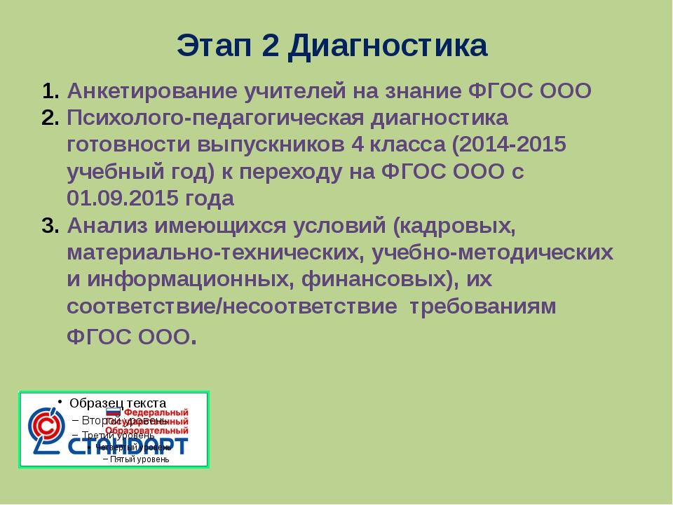 Этап 2 Диагностика Анкетирование учителей на знание ФГОС ООО Психолого-педаго...