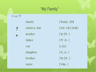 """My Family"" +or?    family ['fæm(ə)lɪ] ? relative, kin ['relətɪv] [kɪn]"
