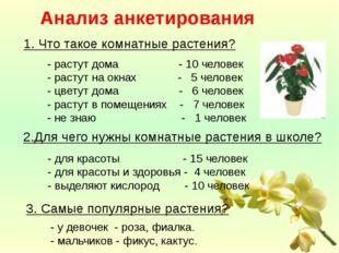 Анализ анкетирования 1. Что такое комнатные растения? - растут дома - 10 чел