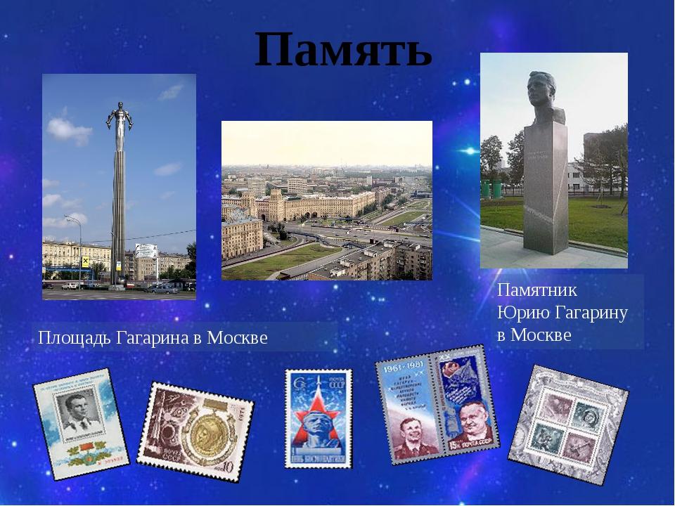 Память Памятник Юрию Гагарину в Москве Площадь Гагарина в Москве