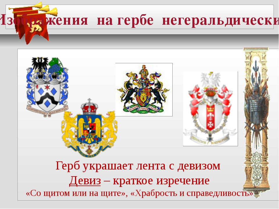 Изображения на гербе негеральдических фигур Герб украшает лента с девизом Де...