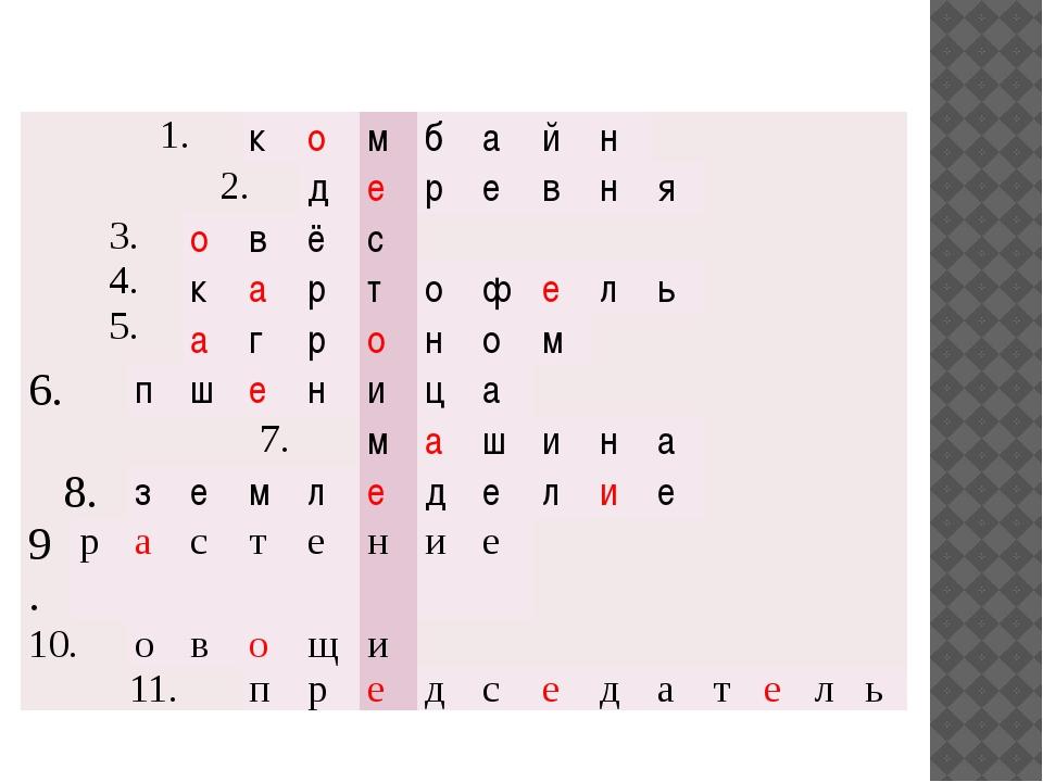 1. к о м б а й н 2. д е р е в н я 3. 4. 5. о в ё с к а р т о ф е л ь а г р о...