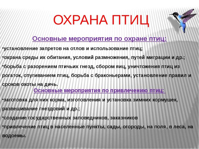 ОХРАНА ПТИЦ Основные мероприятия по охране птиц: установление запретов на отл...