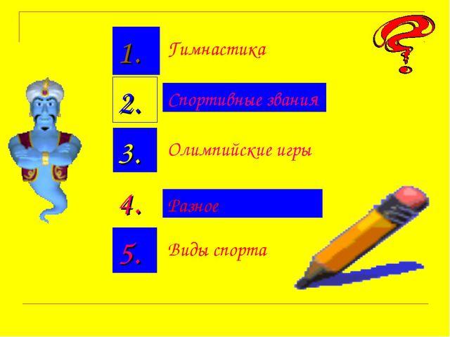 Гимнастика Спортивные звания Олимпийские игры Виды спорта Разное 1. 2. 3. 4. 5.