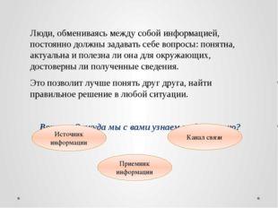 Источники информации Источники информации – это тот, кто передает и сообщает