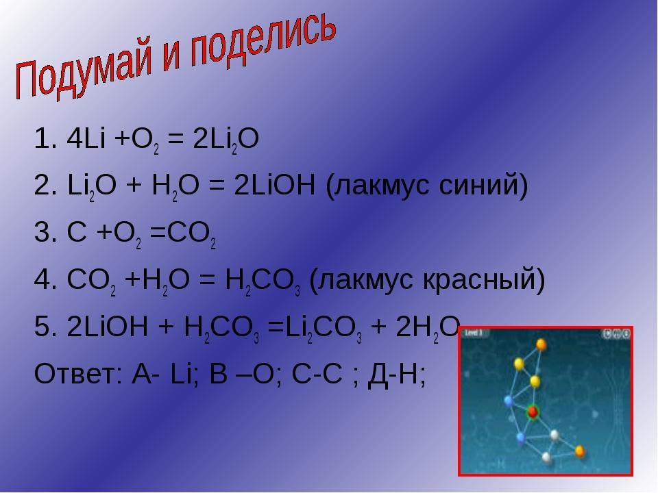 1. 4Li +O2 = 2Li2O 2. Li2O + H2O = 2LiOH (лакмус синий) 3. C +O2 =CO2 4. CO2...