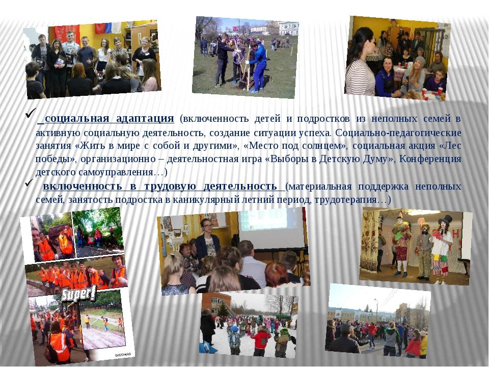 социальная адаптация (включенность детей и подростков из неполных семей в ак...