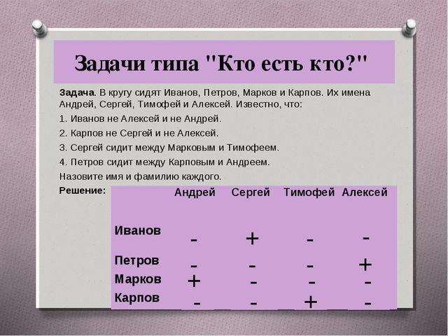 "Задачи типа ""Кто есть кто?"" Задача. В кругу сидят Иванов, Петров, Марков и Ка..."