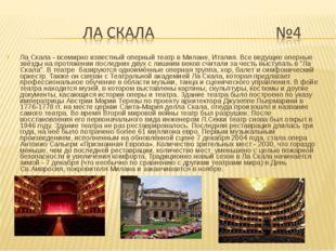 Ла Скала - всемирно известный оперный театр в Милане, Италия. Все ведущие опе