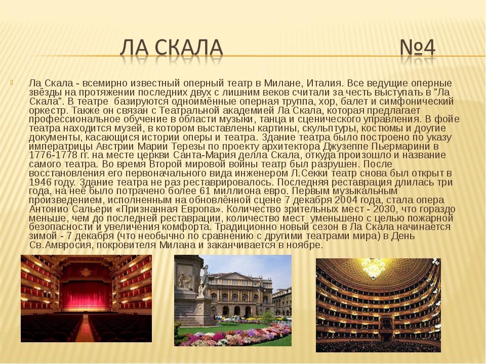 Ла Скала - всемирно известный оперный театр в Милане, Италия. Все ведущие опе...