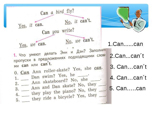 1.Can......can 2.Can...can´t 3. Can…can´t 4. Can…can´t 5. Can…..can
