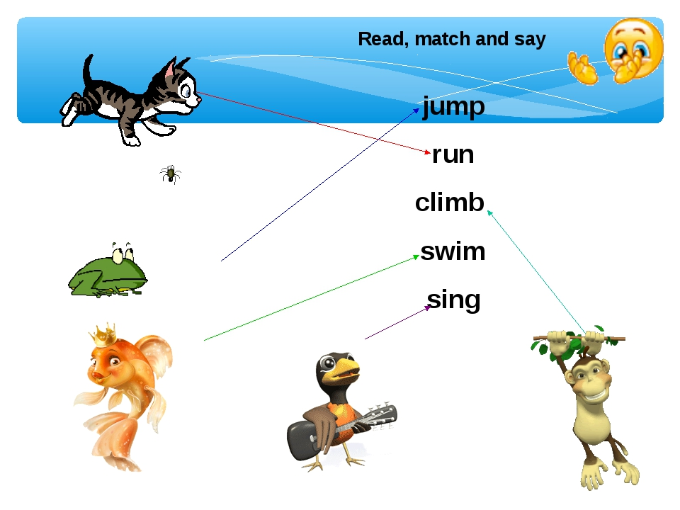 Read, match and say jump run climb swim sing