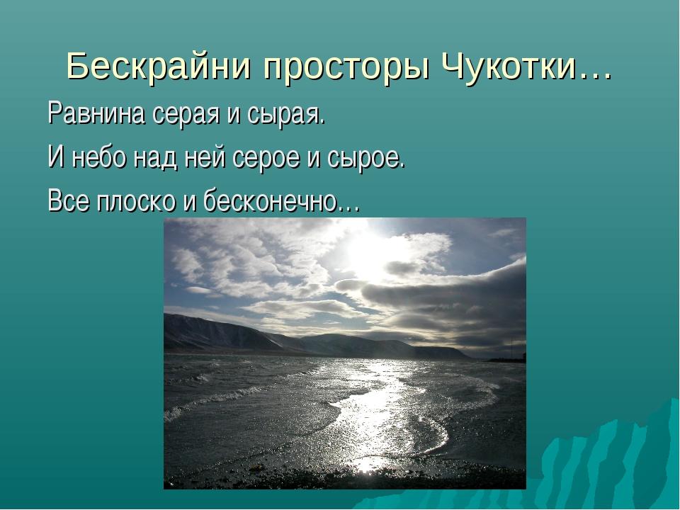 Бескрайни просторы Чукотки… Равнина серая и сырая. И небо над ней серое и сыр...