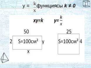y = функциясы k ≠ 0