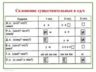 Склонение существительных в ед.ч Н.Н.Коломина