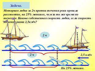 Моторная лодка за 2ч против течения реки прошла расстояние, на 25% меньшее, ч