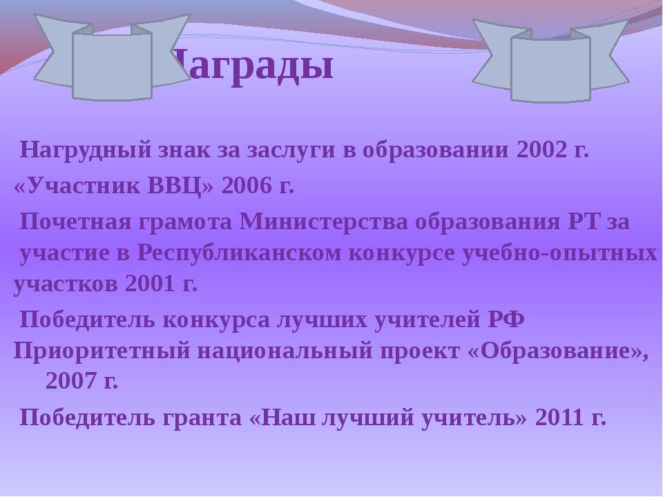 Награды Нагрудный знак за заслуги в образовании 2002 г. «Участник ВВЦ» 2006 г...