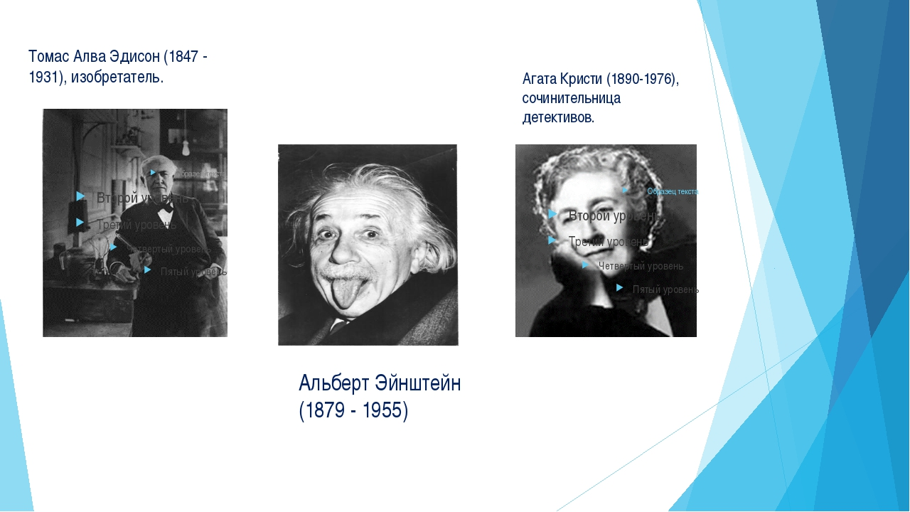 Томас Алва Эдисон (1847 - 1931), изобретатель. Агата Кристи (1890-1976), соч...